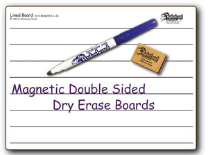 "LINED MAGNETIC DOUBLE SIDED DRY ERASE,  9"" x 12"" Student Whiteboards - MAG0912-LC-2x"