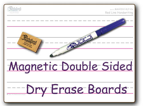 RED LINE PRIMARY MAGNETIC DOUBLE SIDED DRY ERASE,  9