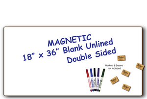 "BLANK UNLINED MAGNETIC - SMALL GROUP BOARD - DOUBLE SIDED DRY ERASE, 18"" x 36""  - MAG1836-2x - $20 each"