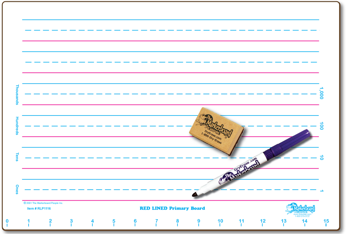 RED LINE PRIMARY DOUBLE SIDED DRY ERASE, 11