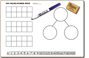 "TEN FRAMES / NUMBER BOND DOUBLE SIDED DRY ERASE,  11"" x 16"" Student Response Boards - TFC1116-2x"