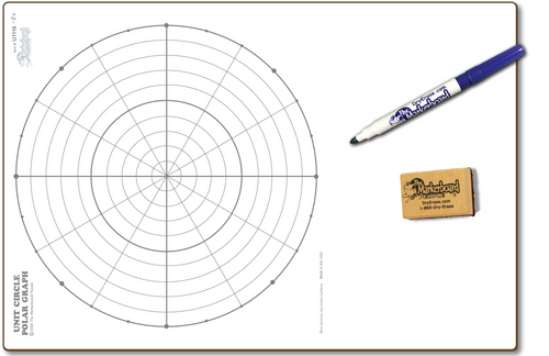 UNIT CIRCLE / POLAR GRAPH DOUBLE SIDED DRY ERASE,  11