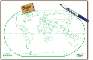 "WORLD MAP DOUBLE SIDED DRY ERASE,  11"" x 16"" Student Response Boards - WMC1116-2x"