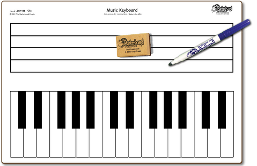 MUSIC KEYBOARD DOUBLE SIDED DRY ERASE,  11