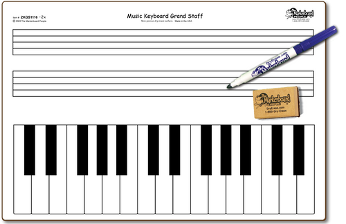 MUSIC KEYBOARD GRAND STAFF DOUBLE SIDED DRY ERASE,  11