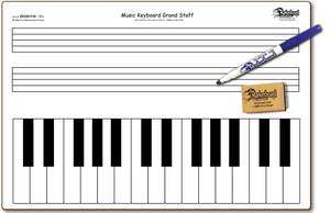 "MUSIC KEYBOARD GRAND STAFF DOUBLE SIDED DRY ERASE,  11"" x 16"" Student Response Boards - ZKGSC1116-2x"