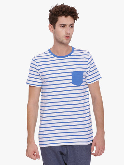Mens Organic Yarn Dyed Striped Round Neck T-shirt-Travis Tee - mysoulspace.in