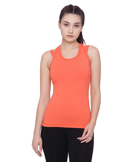 Womens Organic Cotton Tank Top With Padded Sports Bra- Sporty Tank Top - mysoulspace.in