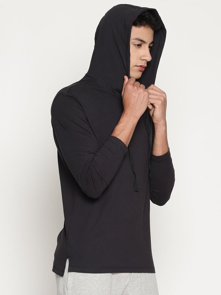 Men's Organic Cotton Solid Henley Tee With Hood - Active Hood Henley - mysoulspace.in