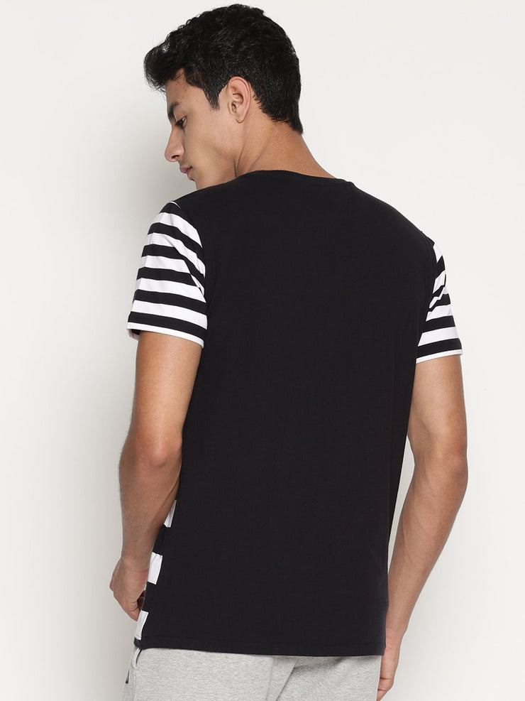 Men's Organic Cotton Striped Round Neck Tee - Grid Tee - mysoulspace.in