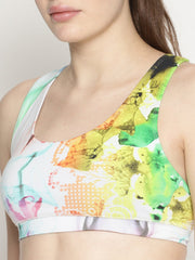 WOMENS ORGANIC COTTON SPORTS BRA - ABSTRACT FLOW - mysoulspace.in