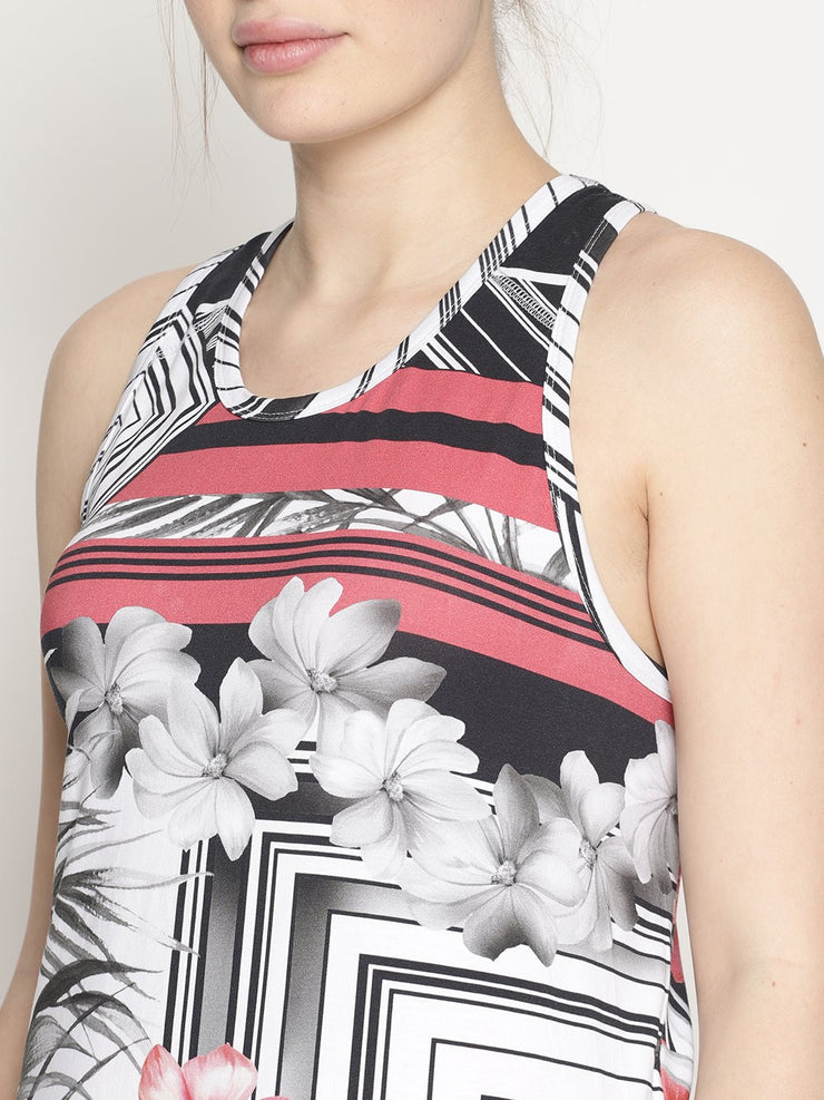 WOMENS ORGANIC COTTON TANK TOP - TROPICAL TRIPPY TRAIN TANK - mysoulspace.in
