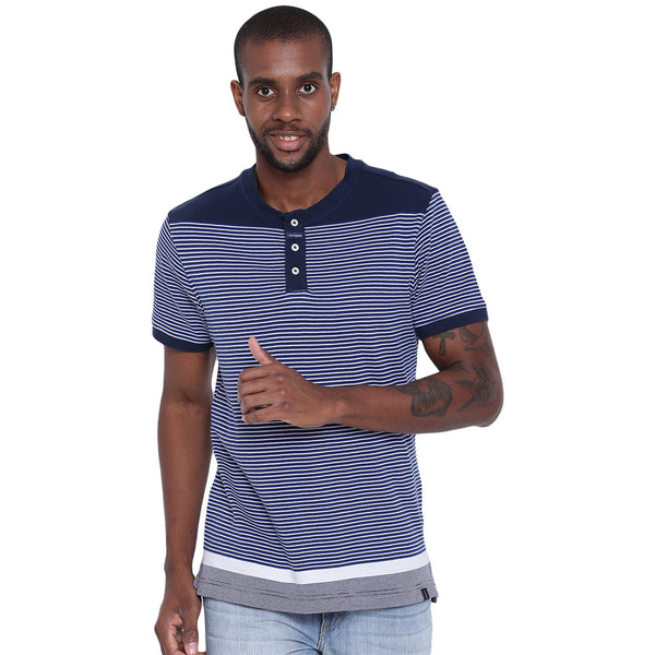 Mens Organic Cotton Yarn Dyed Dense Striped Henley Neck T-shirt-Logan Tee