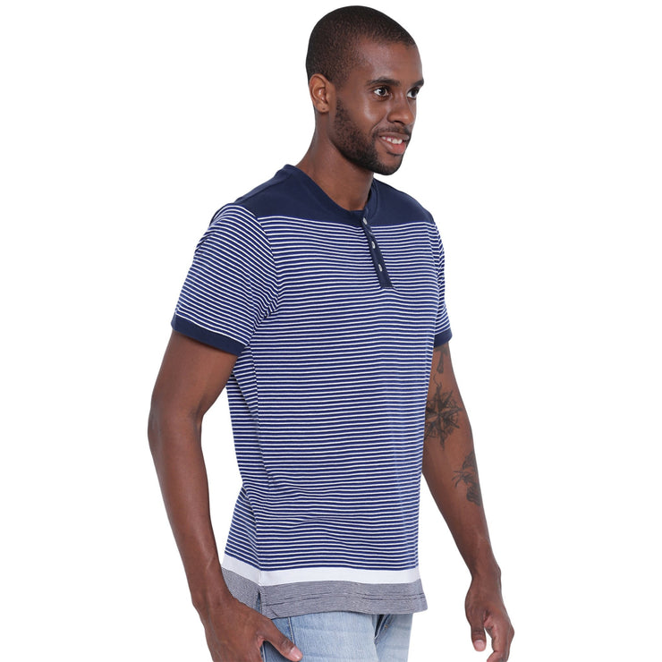Mens Organic Cotton Yarn Dyed Dense Striped Henley Neck T-shirt-Logan Tee - mysoulspace.in