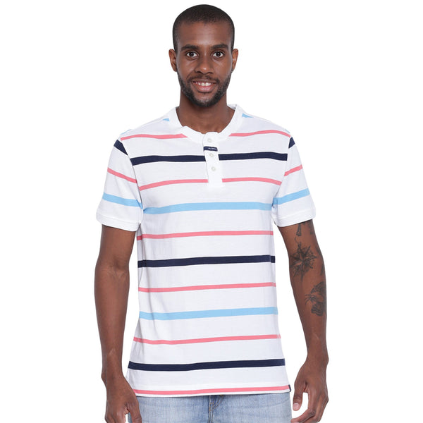 Mens Organic Cotton Yarn Dyed Henley Neck T-shirt-Logan Tee