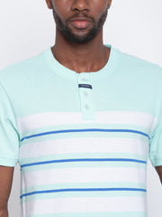 Mens Organic Cotton Yarn Dyed Henley Neck T-shirt-Logan Tee - mysoulspace.in