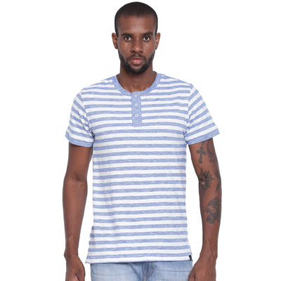Mens Organic Cotton Yarn Dyed Basic Stripes Henley Neck T-shirt-Logan Tee - mysoulspace.in