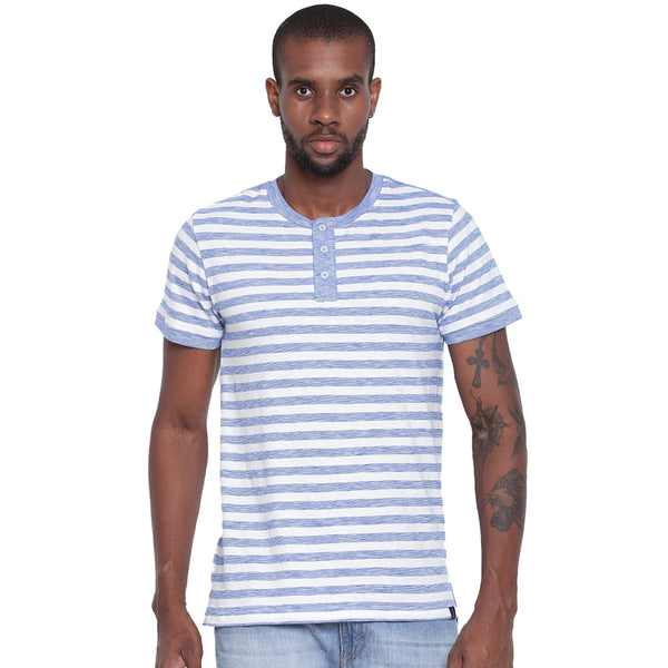 Mens Organic Cotton Yarn Dyed Basic Stripes Henley Neck T-shirt-Logan Tee