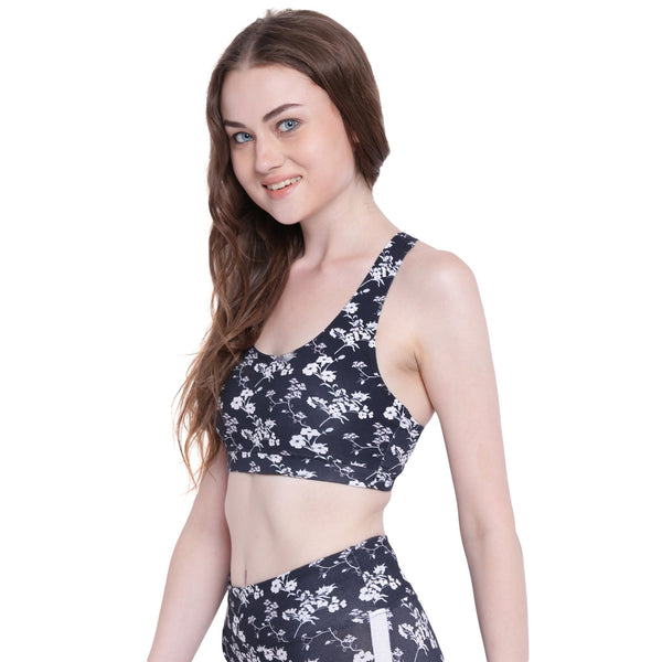 Womens Organic Cotton Stretch Printed Bra- Jasmine Energy Bra