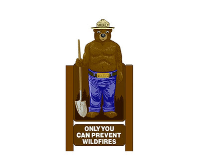 2D Two Sided 4ft Smokey Bear Display