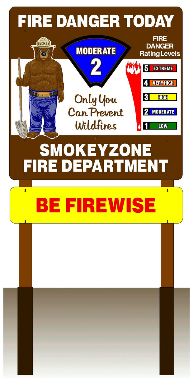 "One Sided 48""x48"" Fire Danger Sign With Smokey Bear"