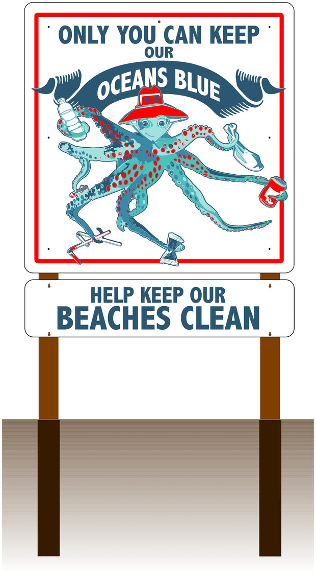 Ocho Octopus Large Message Sign (add rider and post options)