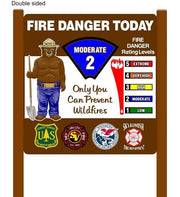 "Two Sided Sided 48""x48"" Fire Danger Sign With Smokey Bear"