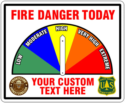 Two Sided White Fire Danger Sign with Custom Lower Text and Logos