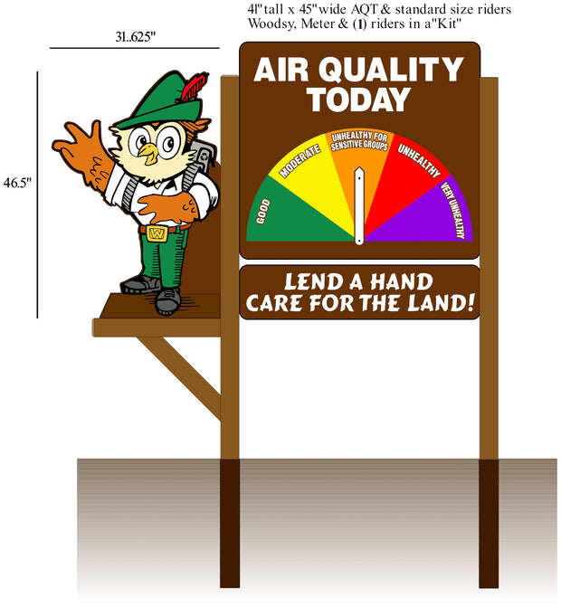 2D Woodsy Owl, One Sided 3 Piece Air Quality Display Kit- Medium