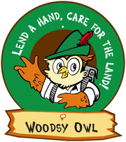 Woodsy Owl Round Message Sign (Add rider and post options)
