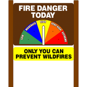 Fire Danger Today Sign with Only You Can Prevent Wildfires Rider