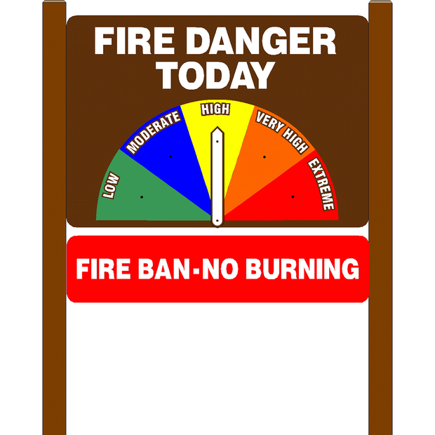 Standard Fire Danger Today Sign with Fire Ban No Burning Rider