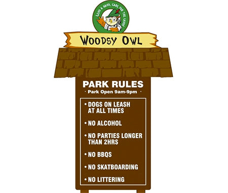 2D Woodsy Owl, One Sided 3 Piece Park Rules Kit