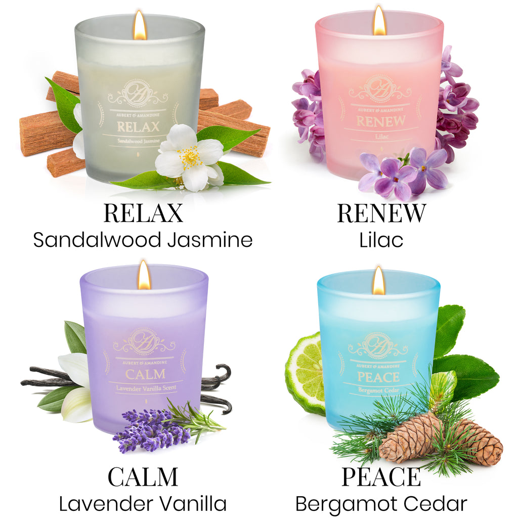 Scented Aromatherapy Candles Gift Set - Four Different Scents