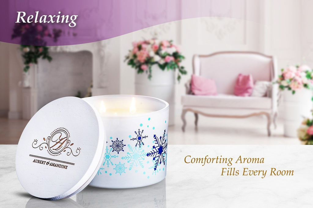 Aubert & Amandine Multi-Wick Candle COMFORT Limited Edition Snowflake Cinnamon Apple Scented Soy Candle