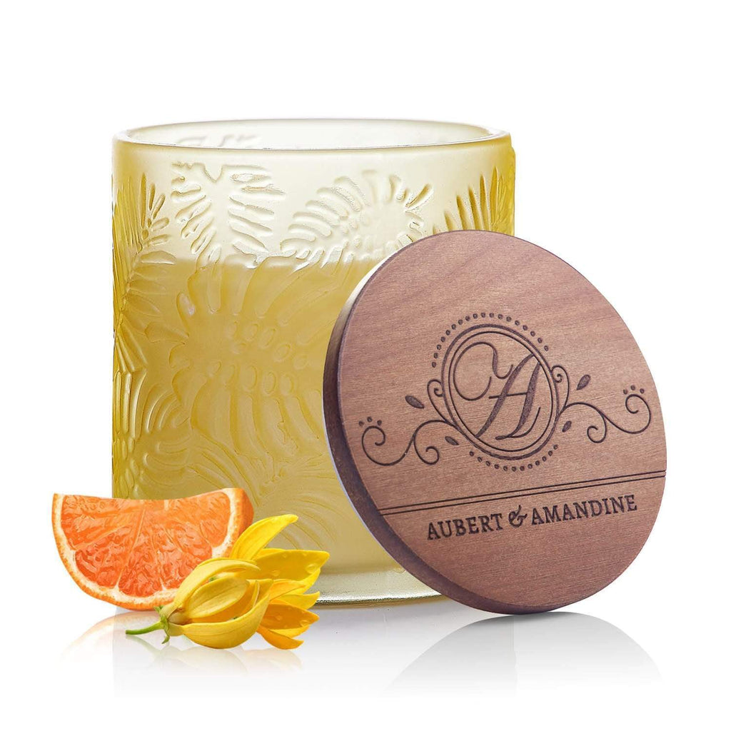 Aubert & Amandine Single Wick Candle JOY - Yellow - Ylang Ylang Mandarin Pastel Collection Luxury Scented Soy Aromatherapy Candle for Stress Relief & Relaxation