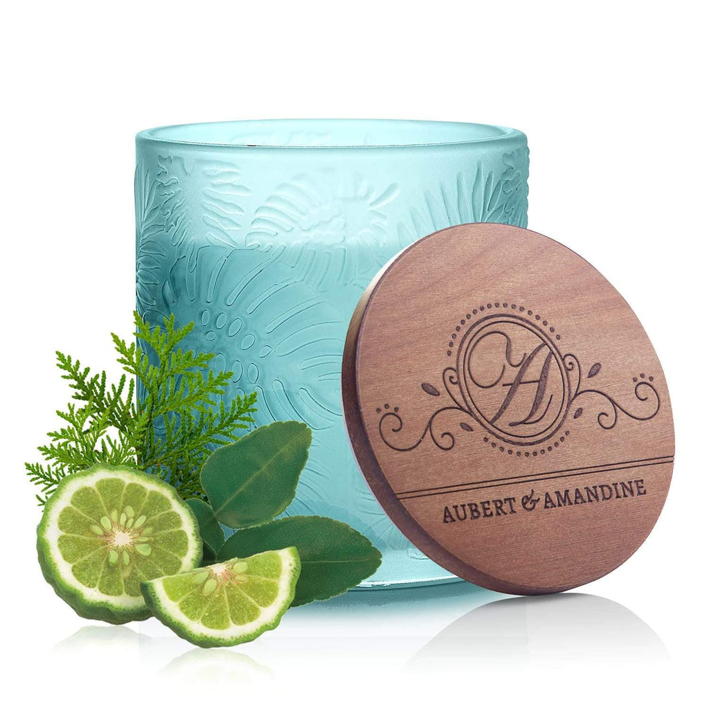 Aubert & Amandine Single Wick Candle PEACE - Blue - Bergamot Cedar Pastel Collection Luxury Scented Soy Aromatherapy Candle for Stress Relief & Relaxation