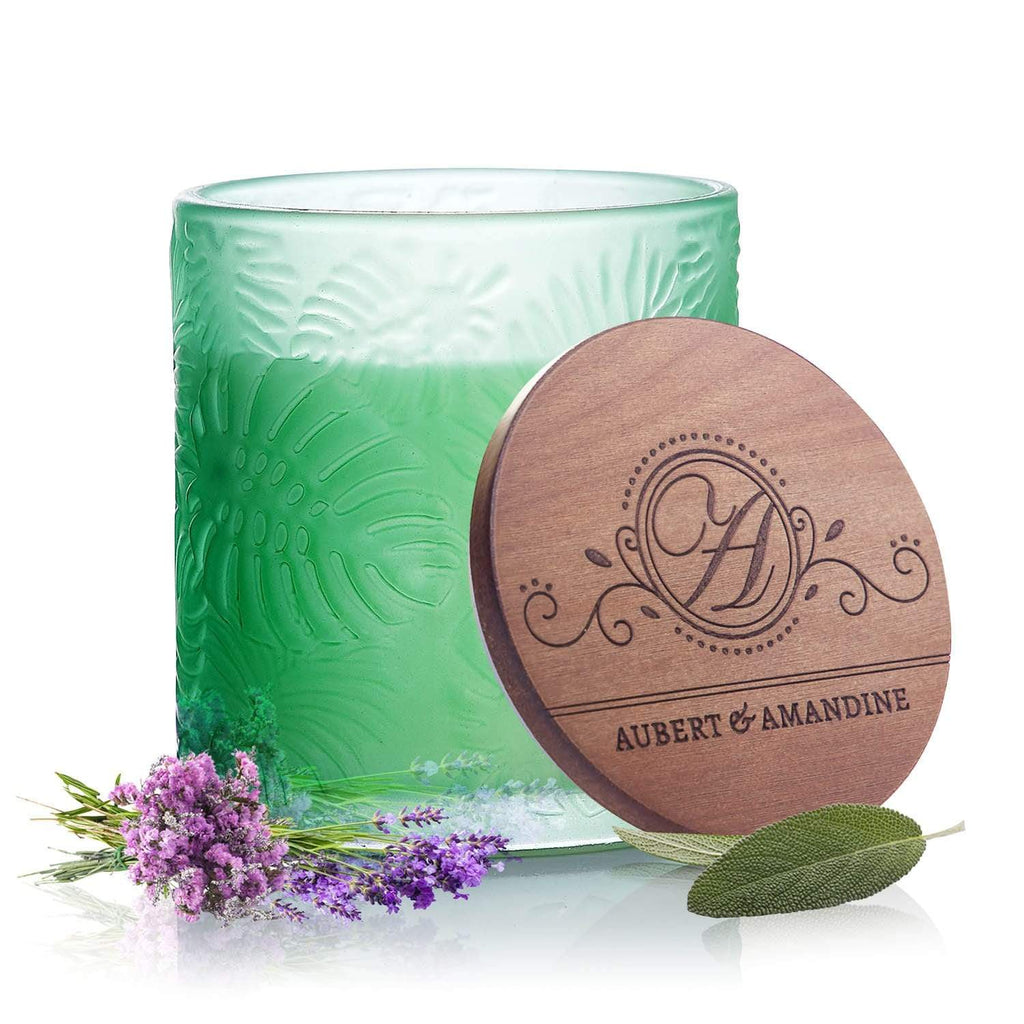 Aubert & Amandine Single Wick Candle REFRESH - Green - Lavender Sage Peppermint Pastel Collection Luxury Scented Soy Aromatherapy Candle for Stress Relief & Relaxation