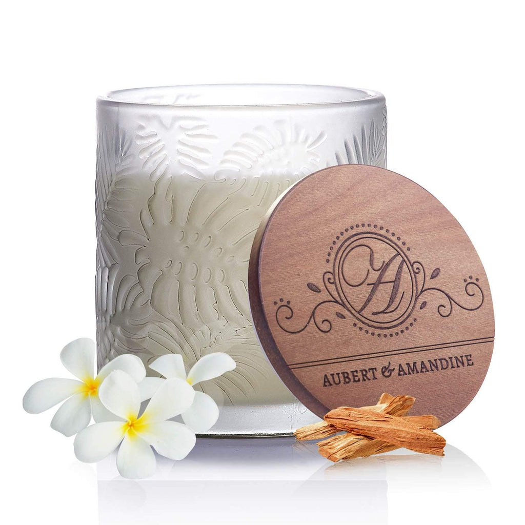 Aubert & Amandine Single Wick Candle RELAX - Gray - Sandalwood Jasmine Pastel Collection Luxury Scented Soy Aromatherapy Candle for Stress Relief & Relaxation
