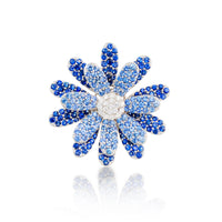 Daisy Flower Ring Blue