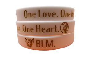 """One Love"" Wristband (White - Gold)"