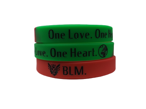 """One Love"" Wristband (Red - Green - Black)"