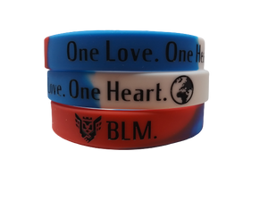 """One Love"" Wristband (Red - White - Blue)"