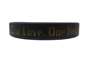 """One Love"" Wristband (Black - Gold)"