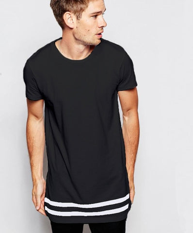Moomphya Streetwear Men t shirt extended longline hipster t shirt men stripes t shirt Homme Long Line T shirt with Striped Hem