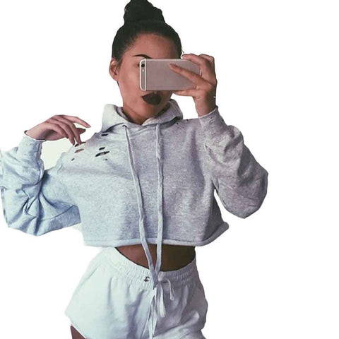 Spring Autumn Long Sleeve Cropped Women Hoody Sweatshirt Hooded Tracksuit Sportswear Female Hoodie Clothes Pullover Femme 2016