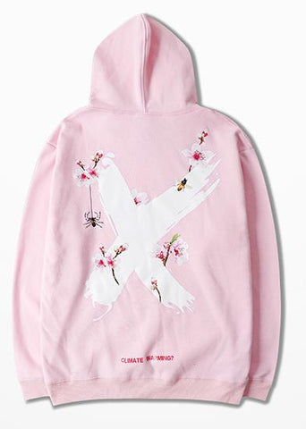 Plum Blossom Cross Print Pink Hoodie Men Casual Wear Fashion Design West Coast Harajuku Mens Hoodies And Sweatshirts Asia Size