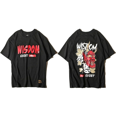 Men Ghost T Shirt Hip Hop Letter Print Devil Wisdom Mens 100 Cotton T-Shirt Harajuku Black Teen Clothing Brand Urban Streetwear