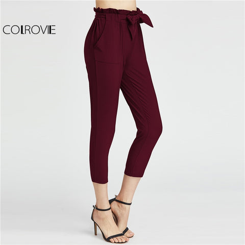 COLROVIE 2018 High Waist Capri Pants Burgundy Elastic Waist Ruffle Waist Self Tie Bow Carrot Pants Women Elegant Trousers