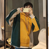 2018 Korean New Style Coats Men Fashion Trend Sweatshirts Loose Hip Hop Patchwork Multicolor Hat Hoodies Casual Pullovers M-XL